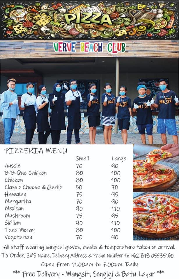 verve beach club Senggigi pizza menu
